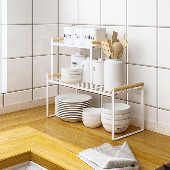 瀝水架廚房柜子分層架置物架桌面碗碟收納櫥柜內隔層分隔板碗架放鍋架子
