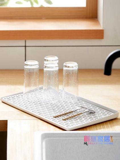 杯架瀝水托盤杯架家用客廳創意長方形水杯子茶水盤廚房水槽雙層瀝水盤
