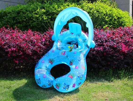 防翻大海龜親子游泳圈4歲安全帶多人2歲鴨子可調小孩免充氣游泳圈
