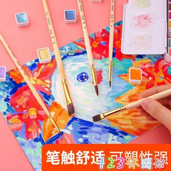10支裝水粉畫筆套裝水彩畫筆排筆美術生專用平頭尼龍圓頭筆刷畫刷豬鬃LXY4508 123休閒館