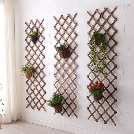 NMS實木網格鐵藝植物掛牆花架壁掛牆上裝飾陽臺牆壁綠蘿懸掛式花盆架