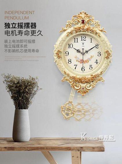 北極星歐式鐘錶創意掛鐘搖擺時尚掛牆掛錶靜音客廳時鐘石英鐘家用