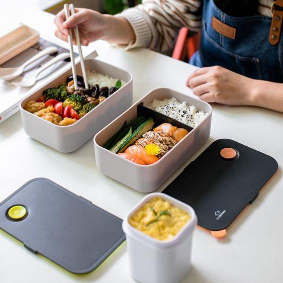 日式飯盒便當盒食堂簡約成人餐盒湯盒健身減脂餐塑膠可微波爐加熱