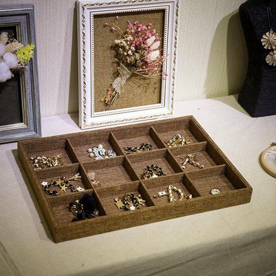 高檔首飾盤戒指項?收納盒手?耳環珠寶箱展示道具飾品架首飾托盤