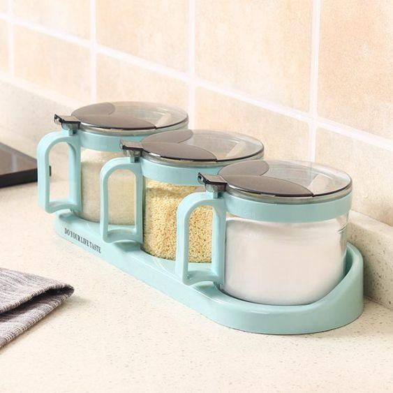 組合裝廚房調料盒套裝家用玻璃調味盒佐料瓶調味罐放鹽罐調味料盒
