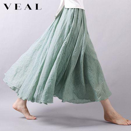 夏季新款棉麻文藝複古半身裙面麻素面高腰不規則大擺中長裙子女薄