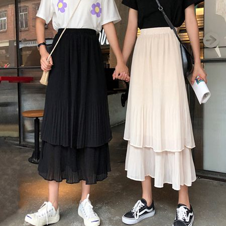 紗裙 很仙的中長款網紗雪紡半身裙女夏季新款韓版百搭高腰蛋糕A字裙潮