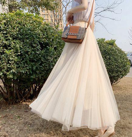 半身裙夏a字裙中長款2020仙氣網紗裙ins超火仙女裙八米大擺長裙