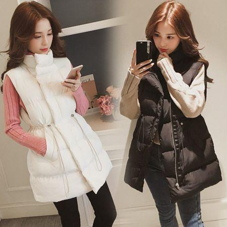 2020秋冬新款韓版羽絨棉背心女士中長款收腰外穿馬夾坎肩背心外套
