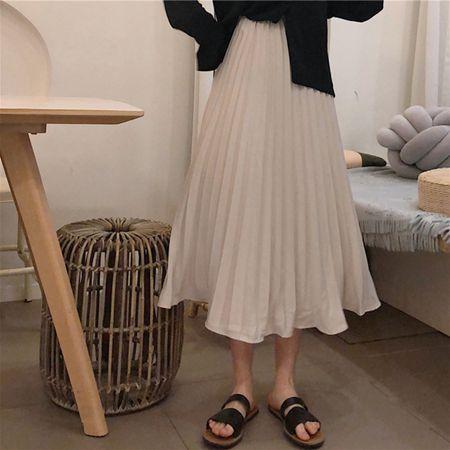洋氣中長款半身裙女裝夏季新款韓版chic百搭寬鬆高腰百褶裙子學生