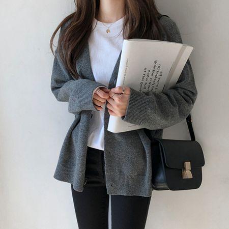 2020春秋新款寬鬆慵懶風V領針織開衫外套洋氣短款毛衣女