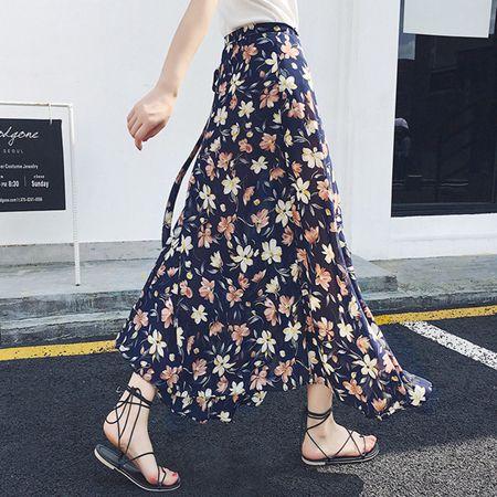 一片式半身長裙女夏2020雪紡中長款碎花海邊度假沙灘裹裙半身裙