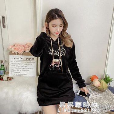 中長款金絲絨衛衣女連帽秋冬季2020新款韓版寬鬆加絨加厚雙面外套
