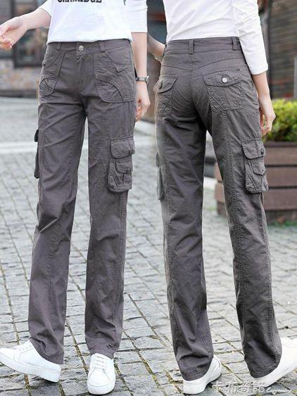工裝褲女多口袋長褲褲裝新款寬鬆bf休閒褲戶外hiphop直筒長褲