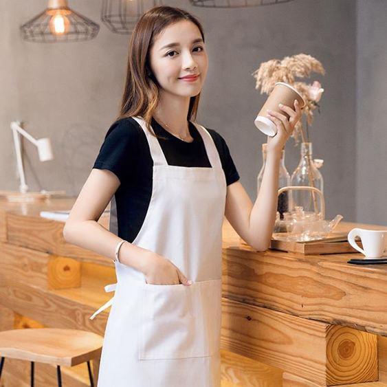 圍裙白色工作圍裙防水防油半身做飯廚房純棉廚師圍腰
