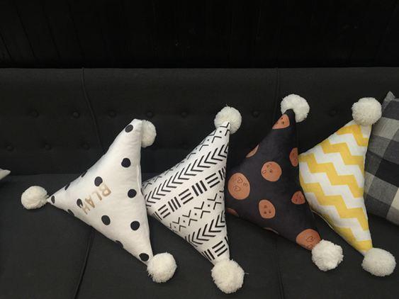 三角靠墊創意抱枕北歐風靠枕沙發簡約純色ins抱枕