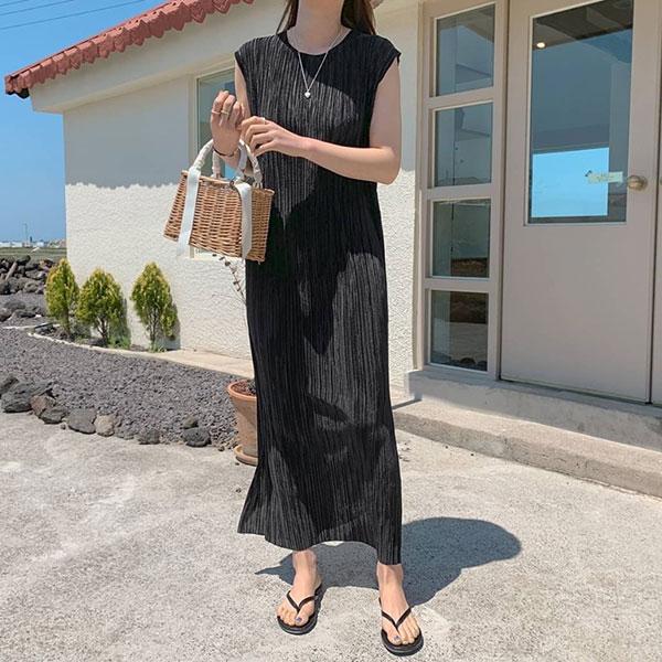ANNAS 正韓 修飾手臂 光澤 壓摺 洋裝 無袖 背心洋 連身裙 長裙 長洋裝 百折 百摺 壓紋 氣質 韓國