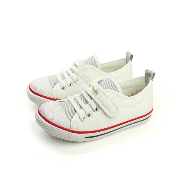 HUMAN PEACE:Private帆布鞋休閒鞋魔鬼氈好穿舒適童鞋白色中童P-901A-03no214