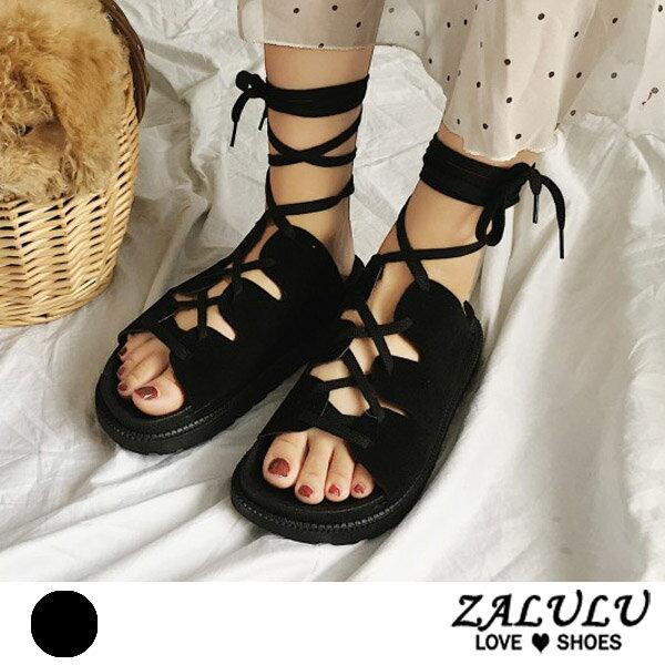 ZALULU愛鞋館7EE193預購交叉細繩綁帶平底磨砂面涼鞋-黑-35-40