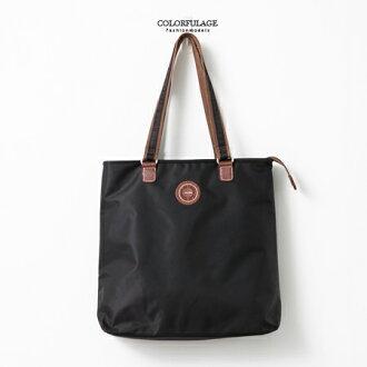 手提包 質感防潑水尼龍材質三層肩背包 購物包 大容量空間 輕巧好攜 柒彩年代【NZ471】簡單休閒