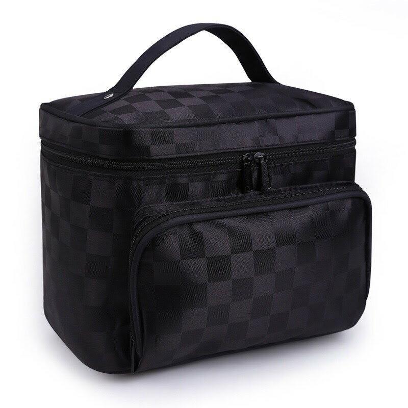 韓國方格大容量收納包旅行可折疊洗漱包手提化妝包-黑色