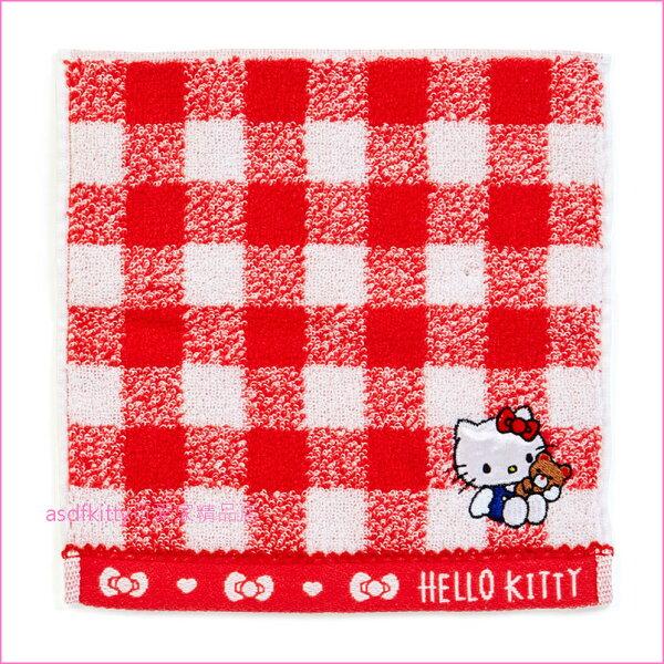 asdfkitty可愛家☆KITTY紅格小方巾手帕-毛巾布材質-20*20公分-日本正版商品