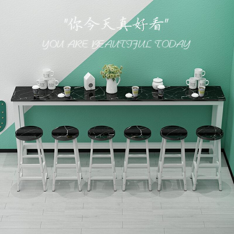 吧檯桌 靠墻吧臺桌家用客廳小吧臺桌商用奶茶店鐵藝奶茶店細長條桌窄桌子ZHJG15