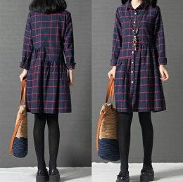 寬鬆格子純棉襯衫裙洋裝  - ORead 自由風格