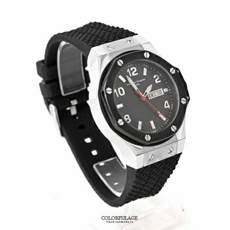 范倫鐵諾Valentino 粗曠螺絲造型不鏽鋼手錶 精品腕錶 星期.日期窗顯示 柒彩年代【NE1658】原廠貨 0