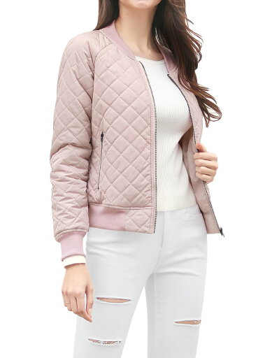 Women Quilted Zip Up Raglan Sleeves Bomber Jacket Pink /S (US 6) 2e7344f1c931e23c645302e41050fe6d