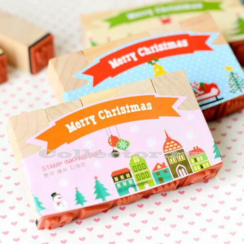 【P15120703】韓版-聖誕紀念款印章印泥套組 五印章 手工DIY 聖誕禮物 交換禮物
