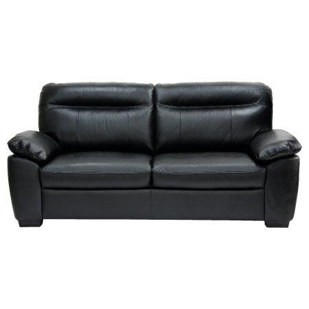◎(OUTLET)半皮3人用沙發 STONE BK 福利品 NITORI宜得利家居 1