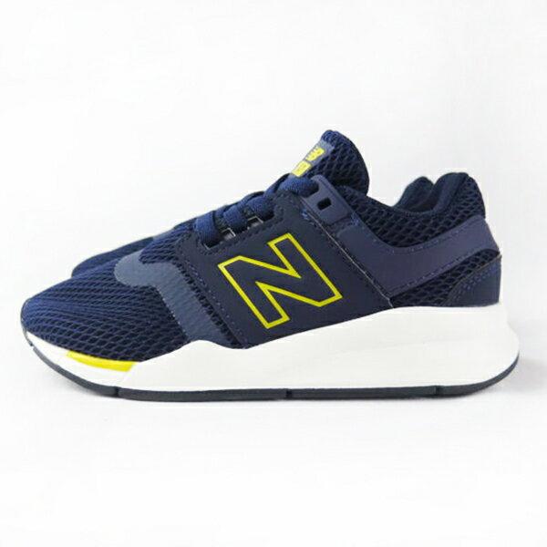 Shoestw【PH247BC】NEW BALANCE NB247 中童鞋 運動鞋 鬆緊帶 免綁帶 襪套 Wide 網布 深藍黃 0