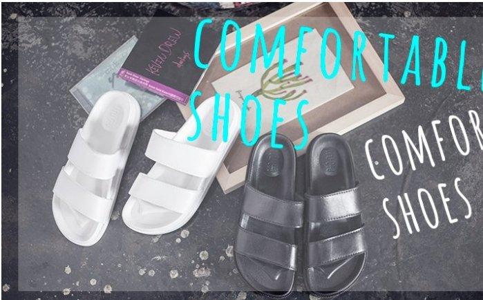 Pyf ? 雙橫條 防水橡膠拖鞋 黑白2色 35-45 大尺碼女鞋