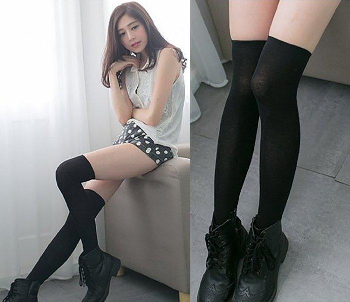 【當日出貨】多色200針純棉膝上襪 素色高統襪 棉質長筒襪 過膝襪 膝上襪 修飾顯瘦修長 ROCK-MOOD