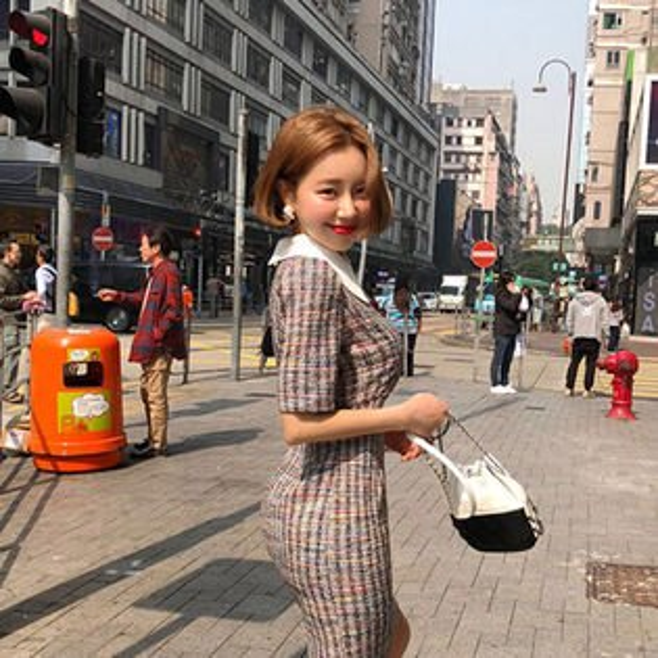PSMall名媛短袖彩色連身裙洋裝【T131】