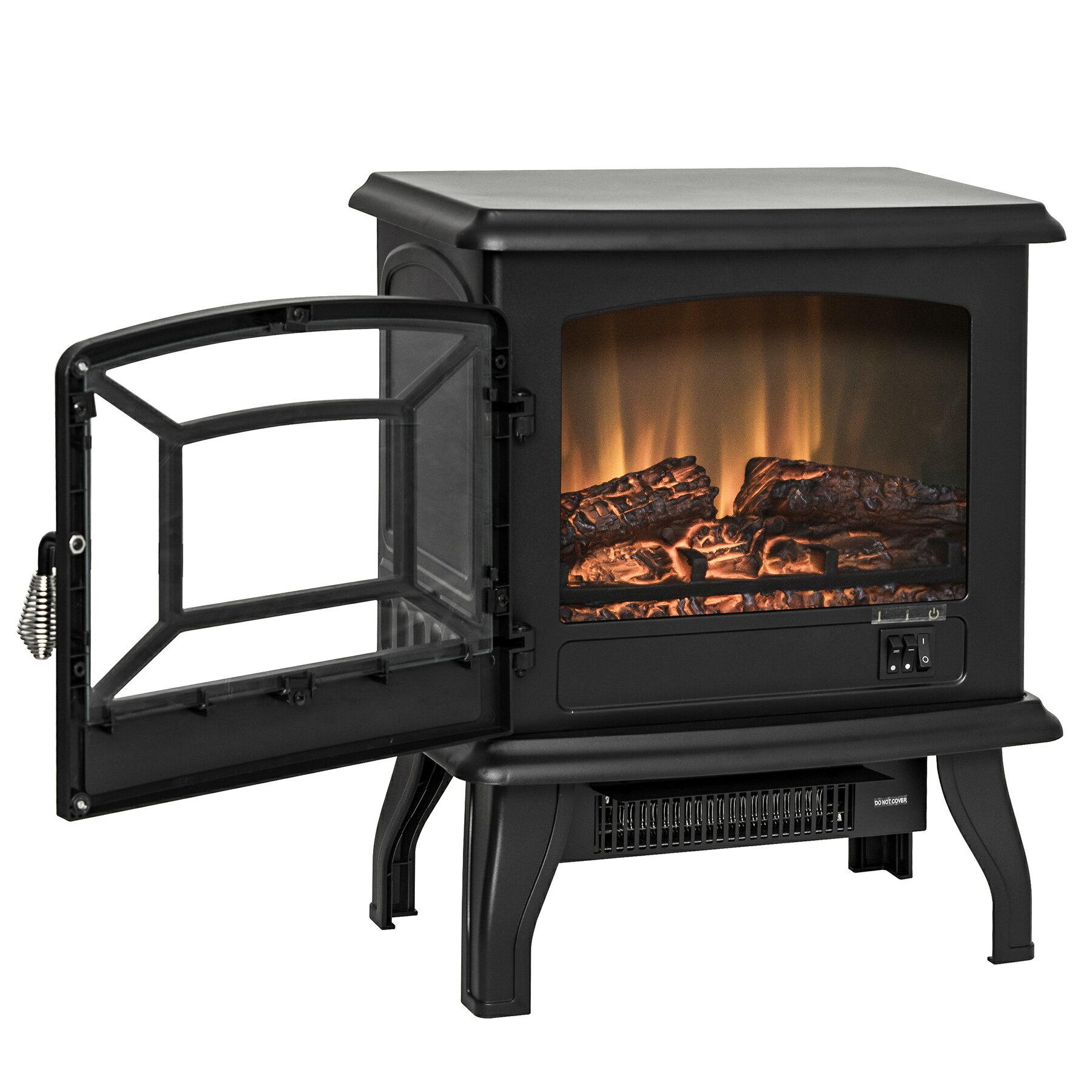 "AKDY 17"" Black Finish Freestanding Portable Electric Fireplace Heater 2 Setting Level 2"