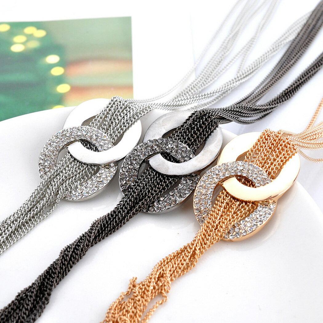 Rhinestone Metal Pendant Chain Statement Jewelry Necklace 2