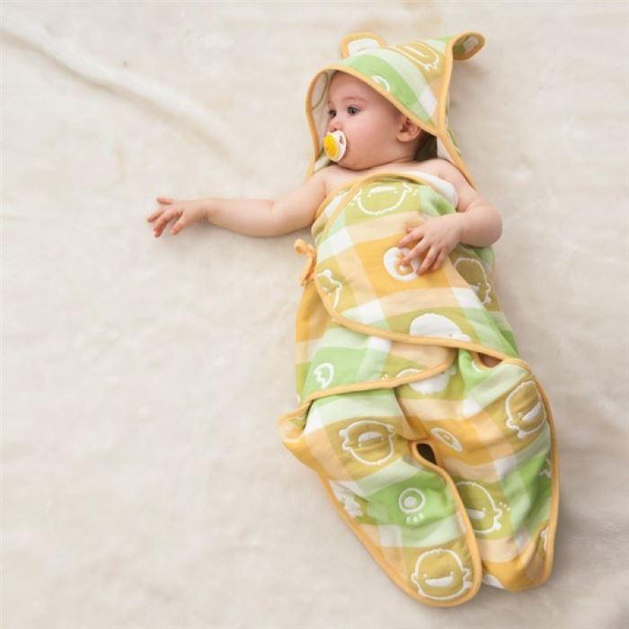 【黃色小鴨】六層立體紗造型包巾 (藍/粉/黃)