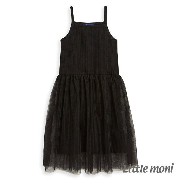 Littlemoni甜美細肩網紗洋裝-黑色