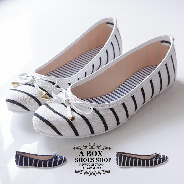 格子舖~~KPWB826~MIT 製 蝴蝶結海軍條紋學院風 圓頭平底包鞋 娃娃鞋 懶人鞋