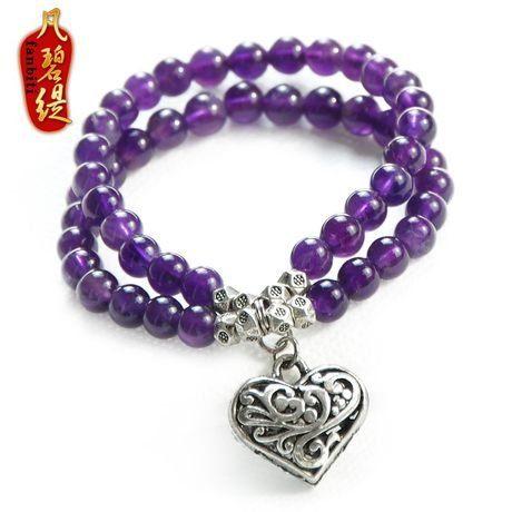 銀愛心款紫晶手鏈時尚多層飾品