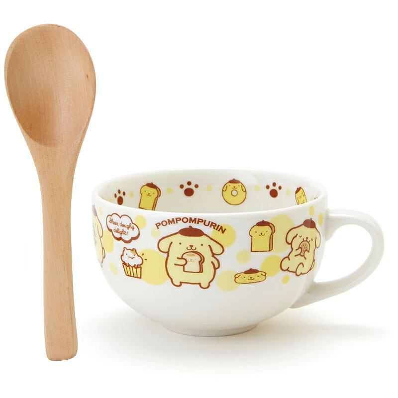 【真愛日本】 15100300011 馬克杯附木匙-PN麵包黃 三麗鷗家族 布丁狗 湯杯 湯碗 杯子 餐具