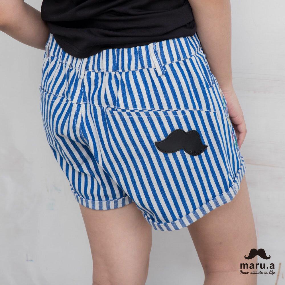 【maru.a】彩色方塊刺繡直條紋短褲(2色)7925112 7
