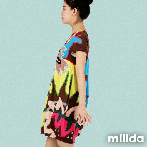 【Milida,全店七折免運】-夏季商品-拼貼款-毛線拼貼洋裝 3