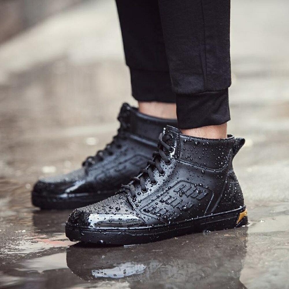 短筒雨鞋男防滑水鞋輕便平底膠鞋雨靴