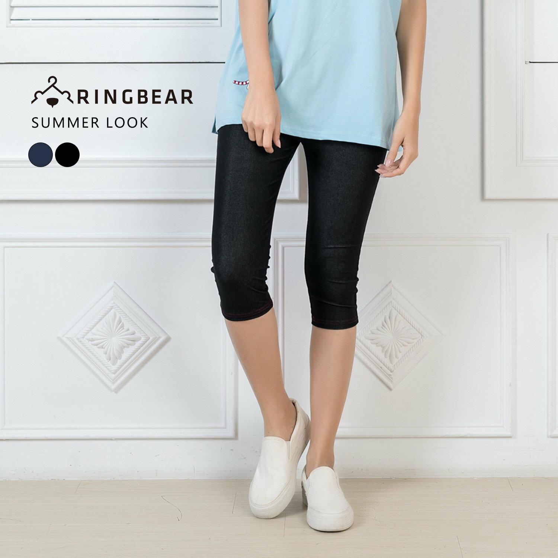內搭褲--質感時尚仿牛仔褲設計與材質舒適彈性七分萬搭褲(黑.藍XL-3L)-P85眼圈熊中大尺碼 1
