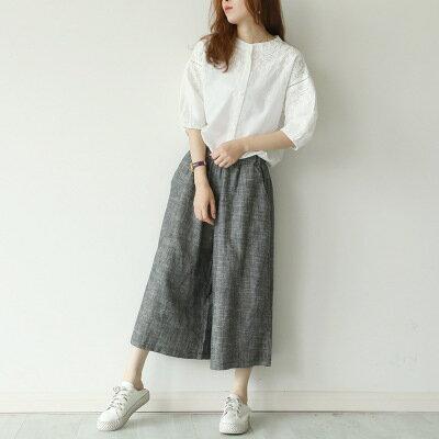 韓系女裝口袋鬆緊收腰棉麻七分闊腿褲樂天時尚館。預購。[全店免運]