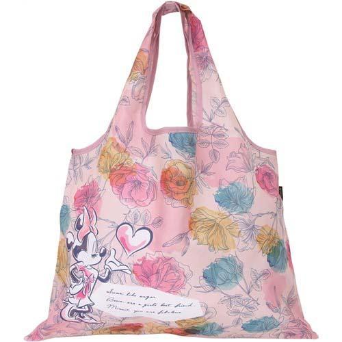 米妮 粉色 花朵 尼龍 購物袋 環保袋 手提袋 日貨 正版授權 02225401