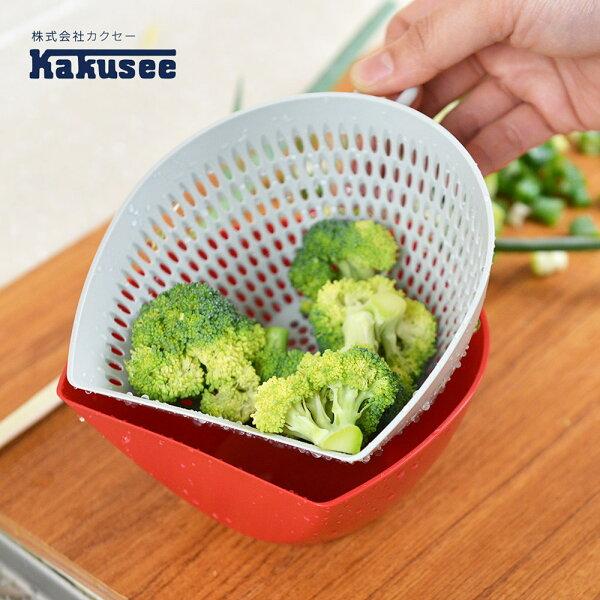 【日本Kakusee料理道具】多功能配料雙層瀝水籃(附量杯)